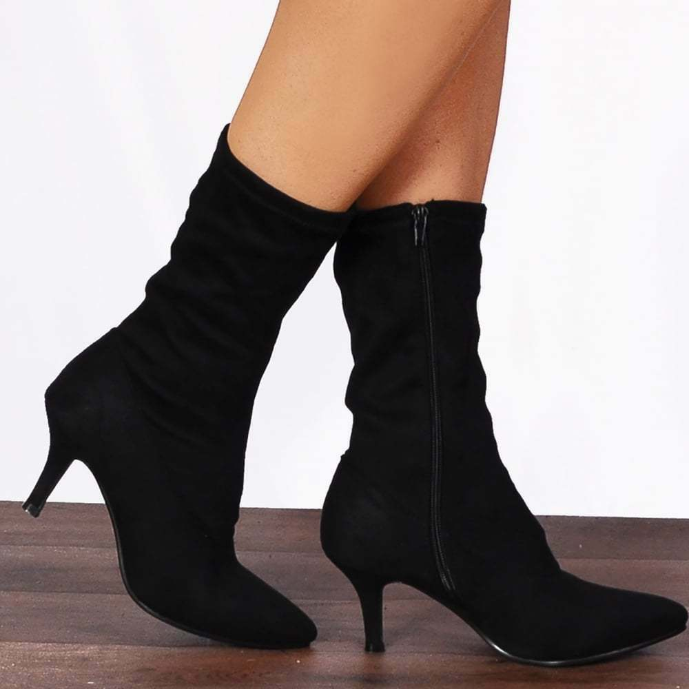 BLACK FAUX SUEDE STRETCH SOCK POINTED PULL UP KITTEN HEEL ANKLE BOOTS SIZE