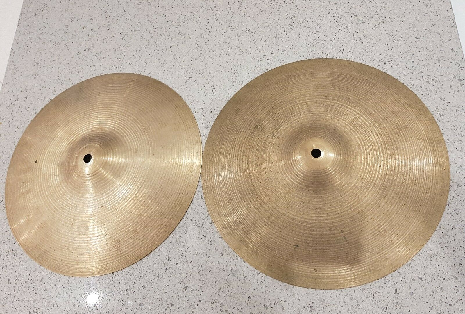 Bargain priceRare Old  (Zildjian and  Premier )stamped 13  hi hats (approx 70s)