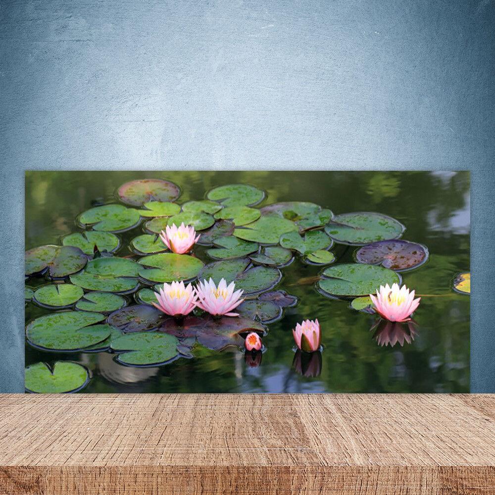 Crédence de cuisine en verre Panneau Paroi 100x50 Floral Lac Fleurs
