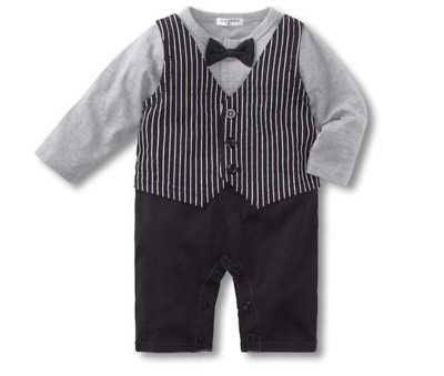 Baby Boy Formal Tuxedo Real Bow /& Ruffles Romper Outfit LONG SLEEVE size 00//0//1