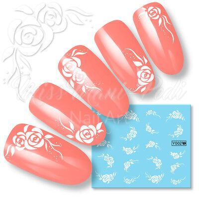 Rose Nail Decals Water Decal Stickers White Flowers Wedding Nails Roses Art Y002