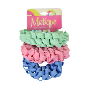 3-Braided-Scrunchies-Light-Green-Pink-amp-Blue-Trendy-Ponytail-Girl-Hair-Accessory
