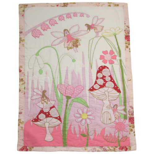100% Cotton Hand Stitched Bed Quilt Single150x225cms Powell Craft Fairies