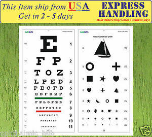 Details About Snellen And Kindergarten Wall Eye Chart Size 22 X 11 Pack Of 2 Free Shipping