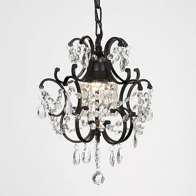Gallery Versailles 1-light Black/ Crystal Mini Chandelier