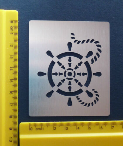Stainless//Steel//Metal//stencil//Oblong//Ship//Wheel//Helm//Nautical//Emboss//Check Size