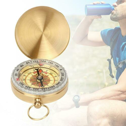 Luminous Copper Camping Hiking Survival Gear Compass With Hanging Ring Gift