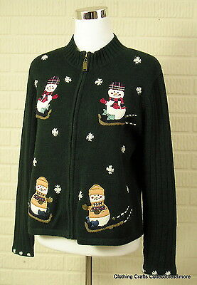 Dark Green Sweater Snowmen Snowflakes Womens Sz Medium Full Zip Chris & Banks