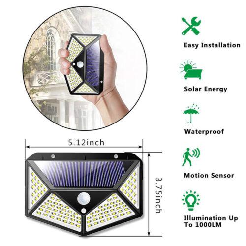 100LED Solar Lampe mit Bewegungsmelder Außen Fluter Sensor Strahler Solarleuchte