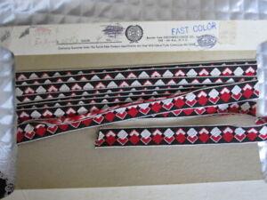 VTG-Black-Red-White-Diamond-Pattern-Woven-Cotton-Rayon-Ribbon-3-4-034-W-x-4-3-4-Yd