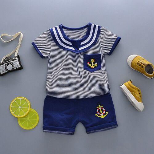 Summer boy Navy suit clothes set cotton kids clothing striped t-shirt top+shorts