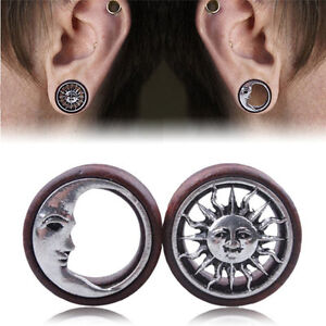 1Pair-Sun-amp-Moon-Ear-Saddle-Tunnels-Fair-Earrings-Gauges-Piercing-Expander-Plug-AT
