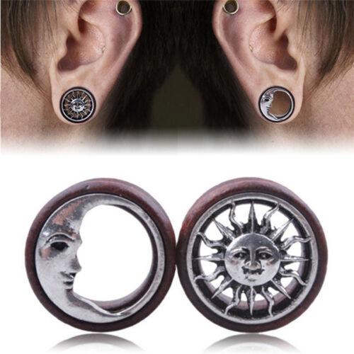 1Pair Sonne /& Mond Ohr Sattel Tunnel Flesh Ohrringe Gauges Piercing Expander Xq