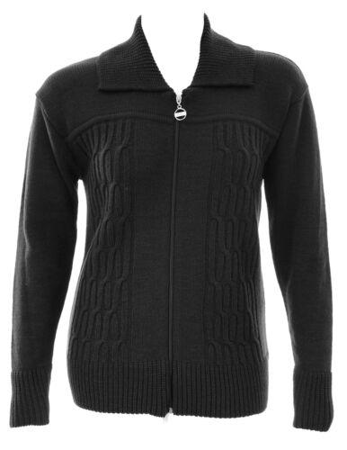 Da Donna 16-24 Nuovo Lavorato a Maglia Giacca Nera Zip Cardi Cavo Design FRONT Caldo Donna