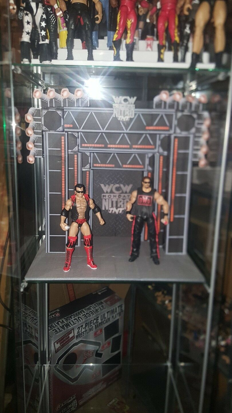 WCW Nitro stage display for a glass shelf for wrestling figures