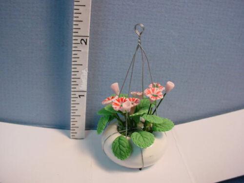 #RP0112 Dollhouse Miniature Ceramic Hanging Planter Pink Flower