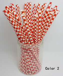 25-Paper-Drinking-Straws-Square-Pattern-Straws-Wedding-Birthday-Party-Color-2