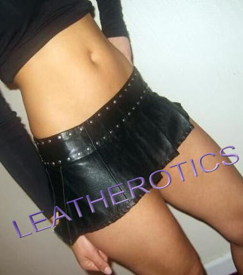 MICRO MINI REAL LEATHER TIGHT COOL LOW WAIST SKIRT 1312