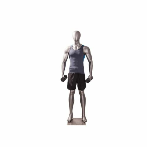 Male Adult Fiberglass Full Body Matte Gray Muscular Fitness Athletic Mannequin