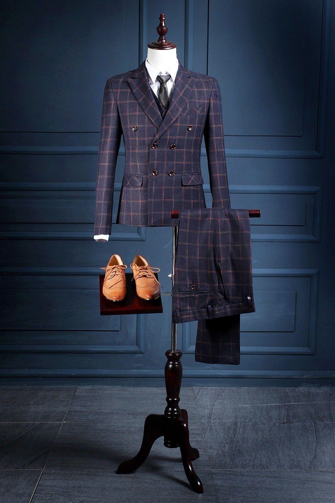 New Groom Tuxeds Double Breasted Best Man Groomsmen Suit Men Plaid Business Suit