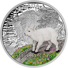 Canada 2015 Baby Animals #5 Mountain Goat Kid & Mother $20 Pure Silver Proof