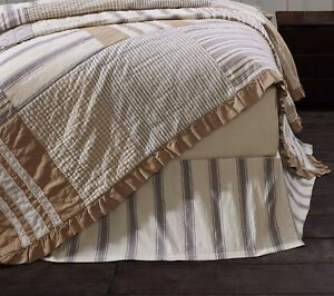 GRACE-Twin-Bed-Skirt-Dust-Ruffle-Ticking-Stripe-Grey-Creme-Country-Farmhouse-VHC