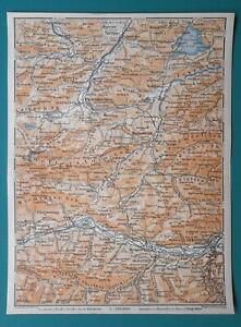GERMANY-AUSTRIA-Partenkirhhen-Innsburck-Wallgau-Telfs-Ettal-1910-MAP-Baedeker
