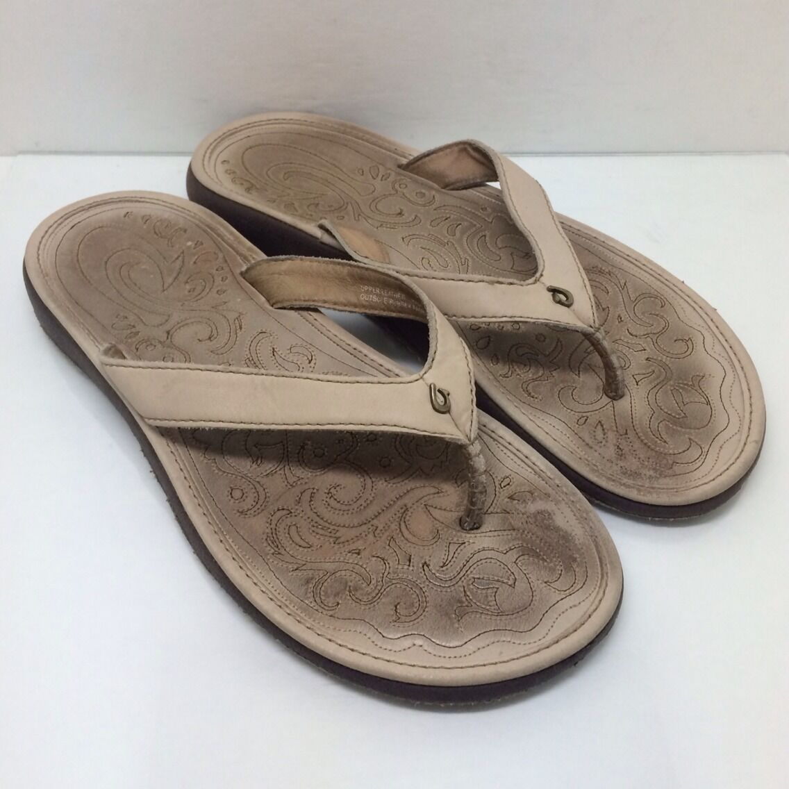 Nice OLUKAI Paniolo Cream Leather Women's Flip Flop Thong Sandals Slipper 38 8