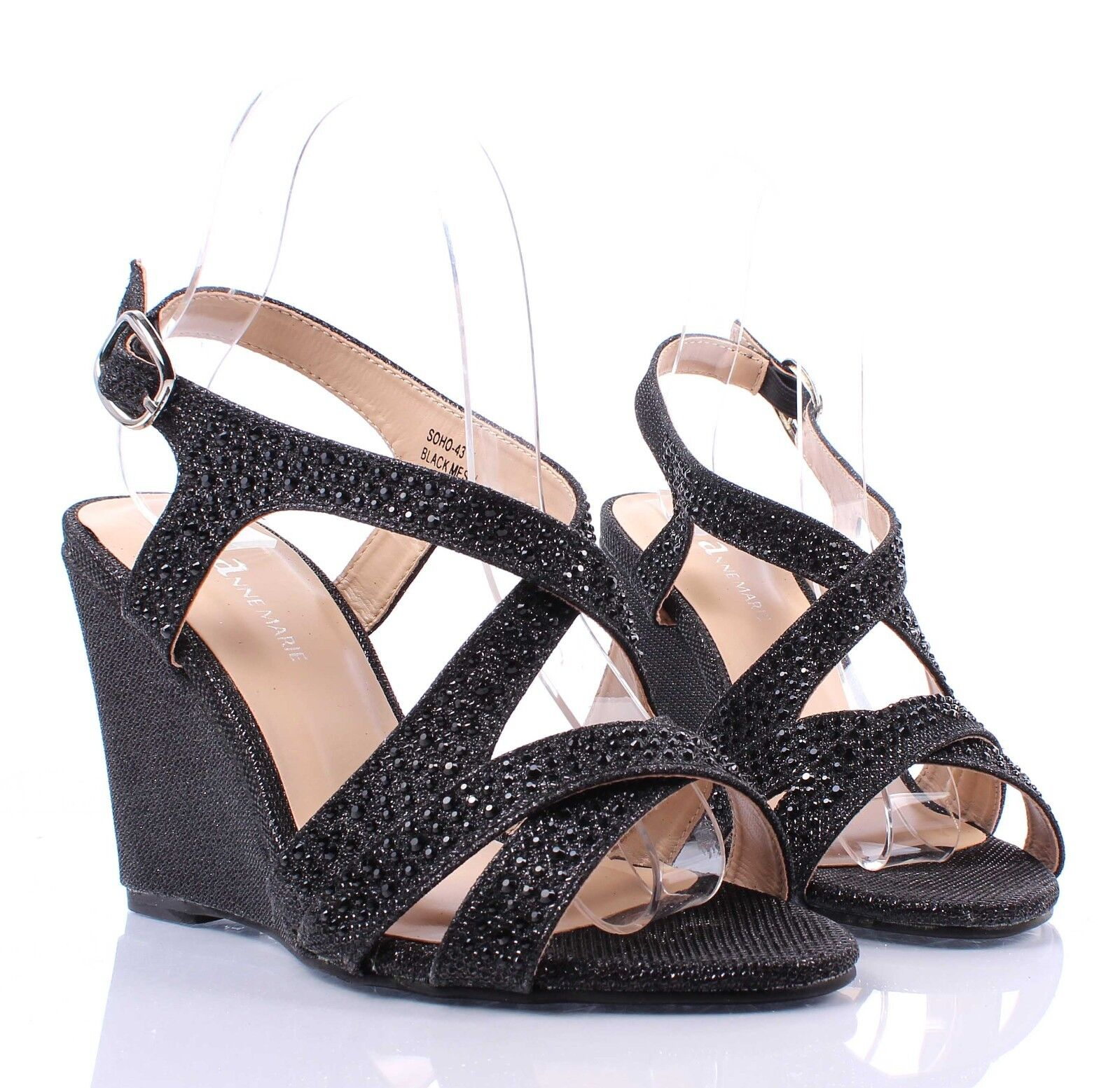 Silver Blink Ankle Strap Sexy Wedge Heels Sandals Womens ...