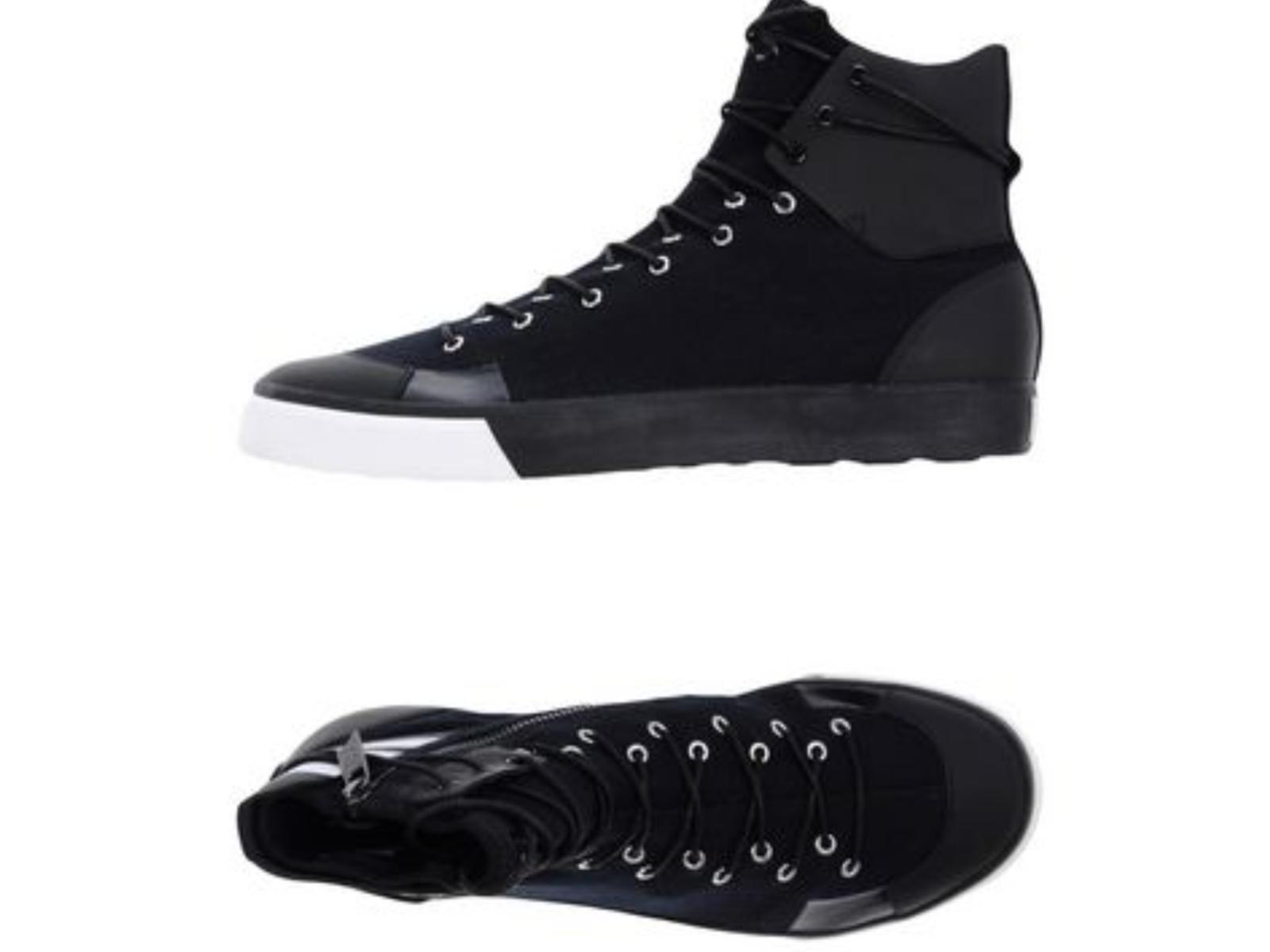 Y-3 Yohji Yamamoto Men's 8.5 Sen High Lace Zip Flat scarpe da ginnastica nero Denim Leather