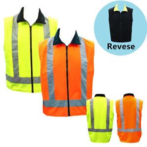 Adult-Hi-Vis-Reversible-Polar-Fleece-Vest-w-Reflective-Tape-Safety-Work-Wear