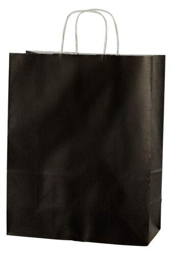 "20 BLACK TWISTED HANDLE KRAFT PAPER CARRIER BAGS MEDIUM 10/"" x 4.25/"" x 12/"""