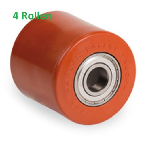 Hubwagenrad 82 x 70 mm 4 Stück Polyurethan Rollen auf Polyamidkern Gabelrolle