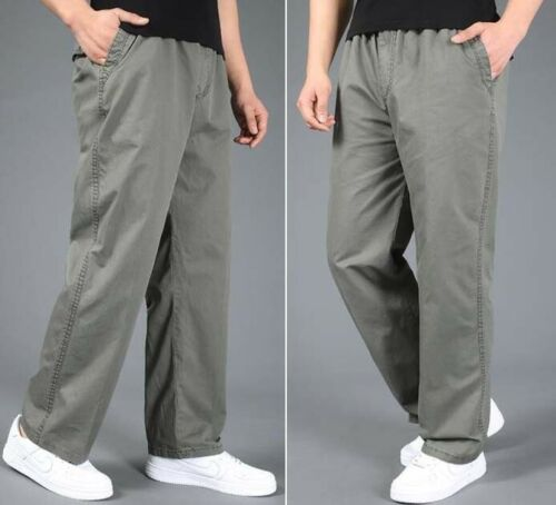 Men Thin Loose Fit Drawstring Cargo Trousers Work Pants Pocket Casual XL~6XL