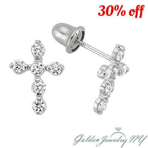 14k White Gold Back Cubic Zirconia Cz Cross Earrings For Baby Children