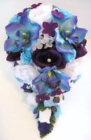17 Pc Wedding Bouquet Bridal Silk Flowers Cascade Purple Aqua Blue Orchid