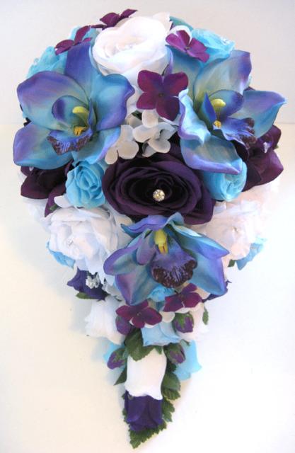 13 pc Wedding Bouquet Bridal Silk flowers Cascade PURPLE AQUA BLUE ORCHID
