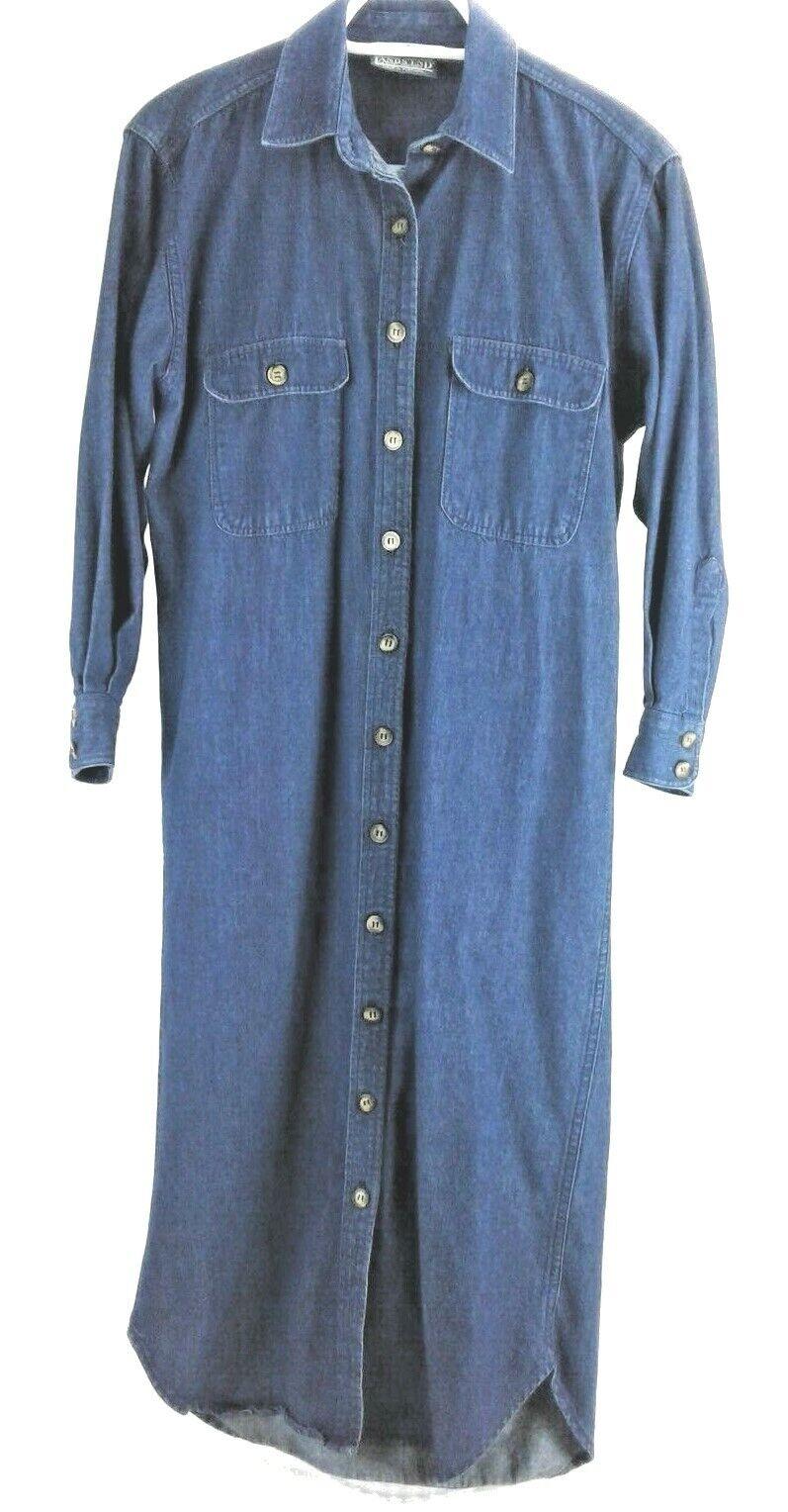 Lands End Womens Maxi dress Straight Skirt Sz S Full Button Up