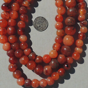 a-29-5-inch-75cm-strand-of-old-antique-carnelian-agate-african-beads-mali-4117