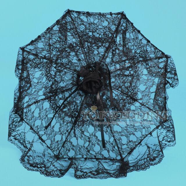 "New 25"" Luxury Elegant Lace Parasol Bridal Wedding Umbrella Party Decor Black"