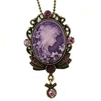 Antique Vintage Designer Purple Stone Cameo Necklace Pendant