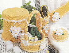 Crochet Pattern ~ COUNTRY BATHROOM SET Basket, Storage Container ~ Instructions