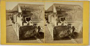 Stéréo, Italie, Pompéi, théâtre Vintage stereo card,  Tirage albuminé  8,5x1