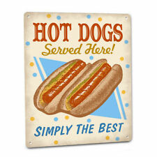 HOT DOGS SIGN Plaque for Diner Kitchen Snack Food Weiners Buns Concession Stand
