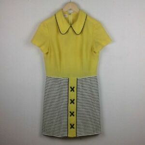 483400de3466 VTG l L R&K Originals Yellow Striped Peter Pan Collar Mod Vespa ...