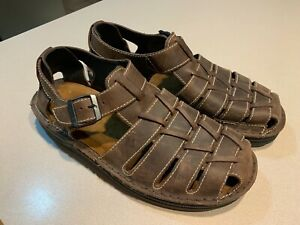 NAOT-Men-039-s-Brown-Leather-Fishermans-Sandals-Size-45