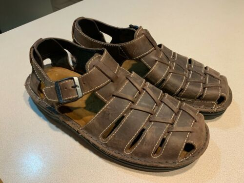 NAOT Men's Brown Leather Fishermans Sandals Size … - image 1