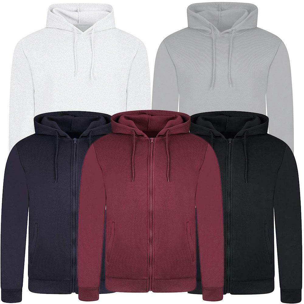 Mens Classic Plain Hooded Sweatshirt Full Zip Up Hoodie Top Pullover Jumper