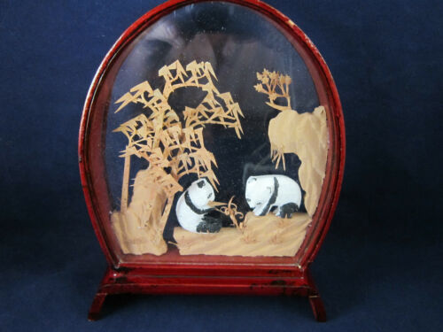 Rare Red Lacquer Chinese Hand Carved Cork Diorama w/Glass - Panda's Dining