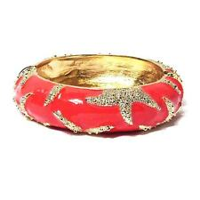 CLASSIC AND CHIC CORAL ENAMEL LACQUER STARFISH BANGLE BRACELET
